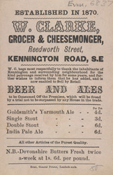 Advert for W Clarke, grocer & cheesemonger